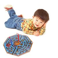 Kids Wooden Toys Children Circular Track Magnetic Beads Pens Moving Maze Puzzle Toys For Children
