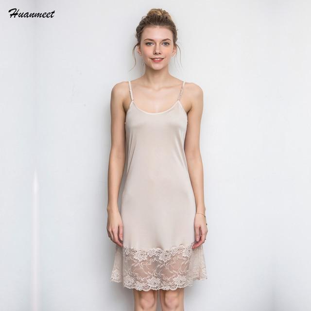 Huanmeet Silk Women s Nightgown Women Nightwear Sexy Sleeveless Sleepwear  Sexy Lingerie Nightgowns Lace Sexy Night Dress 5fa043d853