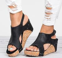 Vintage retro Sandalias mujer chunky tacón alto señoras verano zapatos abiertos zapatos mujer cuña calzado F180225