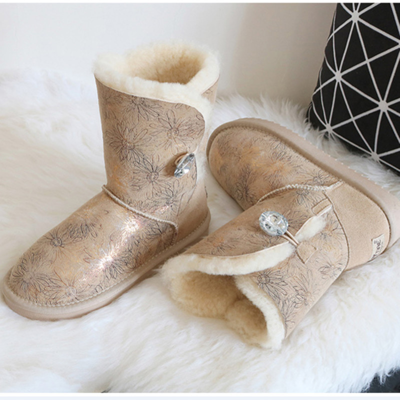 BLIVTIAE Luxury Winter Australia Sheepskin Snow Boots Natural Wool Sheep Fur Boots Mid Calf Crystal Button