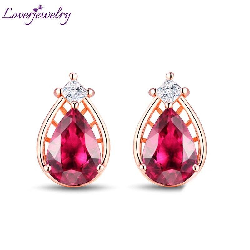 Solide 14 K Or Rose Princesse Diamant Naturel Rose Tourmaline Stud Bijoux Véritable Bijou pour Femme Gros Cadeau