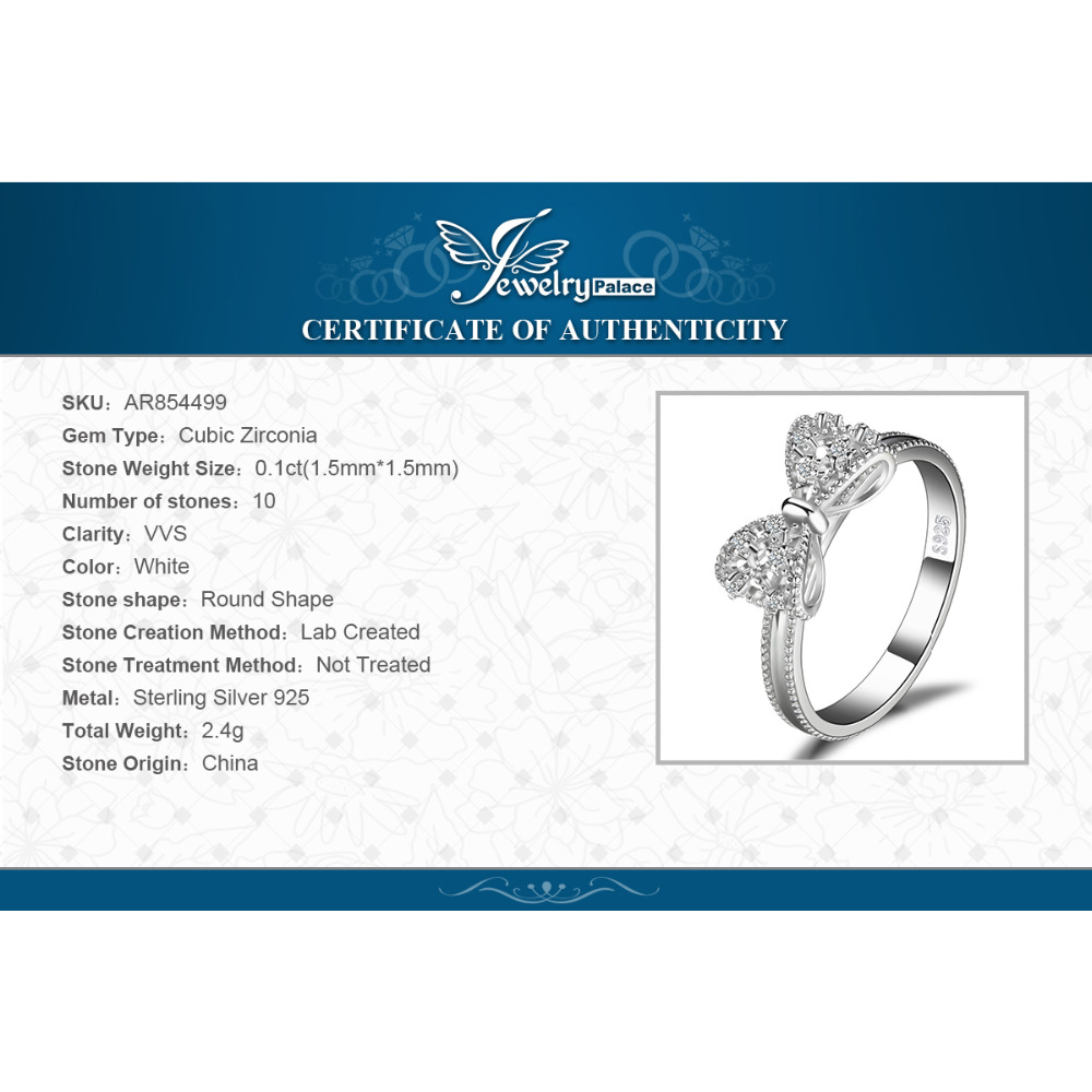 JewelryPalace Bow Anniversary Wedding Ring For Women Soild 925 Sterling Silver Jewelry For Girl Party Friend Gift 5