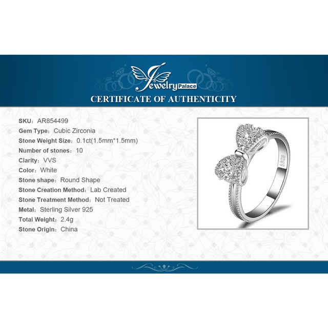 JewelryPalace Bow knot Anniversary Cubic Zirconia Rings 925 Sterling Silver Rings for Women Silver 925 Jewelry Fine Jewelry 5