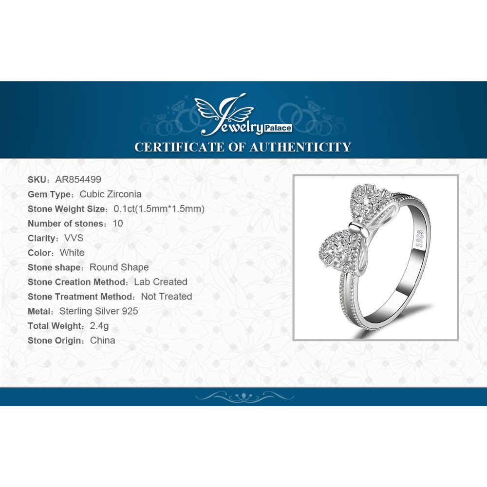 JewelryPalace Bow knot Anniversary Cubic Zirconia Rings anelli in argento Sterling 925 per donna gioielli in argento 925 gioielli raffinati