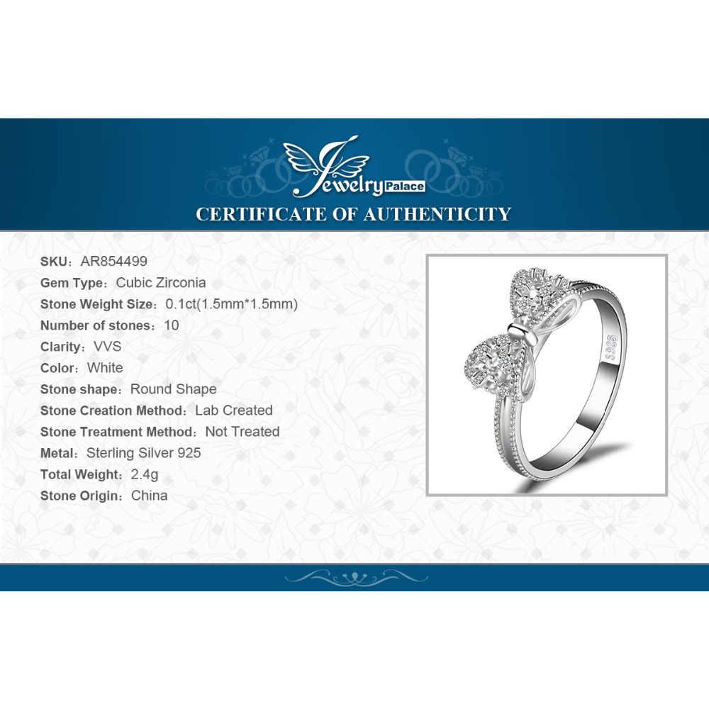JewelryPalace קשת קשר יום נישואים מעוקב Zirconia טבעות 925 טבעות כסף סטרלינג לנשים כסף 925 תכשיטי תכשיטים