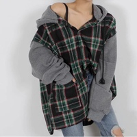 SuperAen Korean Style Women Shirt Wild Winter New Loose Long Sleeve Plaid Spliced Ladies Blouse Hooded Casual Fashion Women Tops
