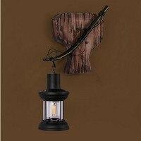 Один руководитель древесины бра лофт американский настенный светильник Nordic спальня гостиная коридор лампа в стиле ретро