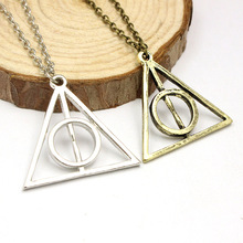 2016 Movie Simple Harry Potter Deathly Hallows Collier Cross Statement Necklace Pendant For Men Women Triangle JewelAccessories