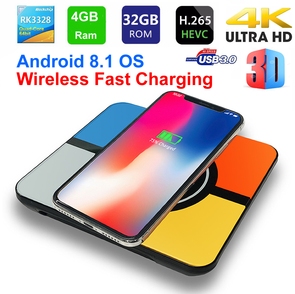 S10 Plus Smart TV Box Android 8.1 Wireless Fast charging RK3328 Quad core 4GB 32GB WIFI 3D 4K HDR 10 H.265 USB3.0 TV Set top Box цена