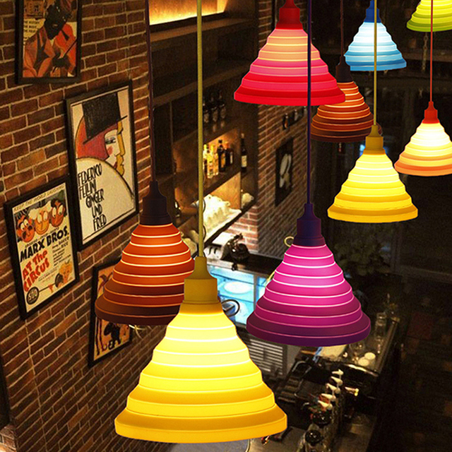 Silicone 220V Lamp Holder E27 Nordic Pendant Lights Lustres Luminaire Vintage Modern DIY Design Lampshade For Living Room Bar