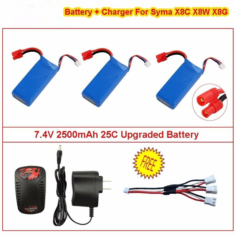 3×7.4V 2000mAh 25C Upgraded Battery+Charger For Syma X8C X8W X8G RC Quadcopter