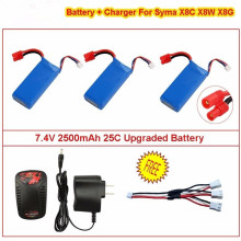 3x7.4V 2500mAh 25C Upgraded Battery+Charger For Syma X8C X8W X8G RC Quadcopter professional syma rc helicopter x8hg x8hw x8hc 2 4g remote control drones with hd camera quadcopter syma x8c x8w x8g upgrade