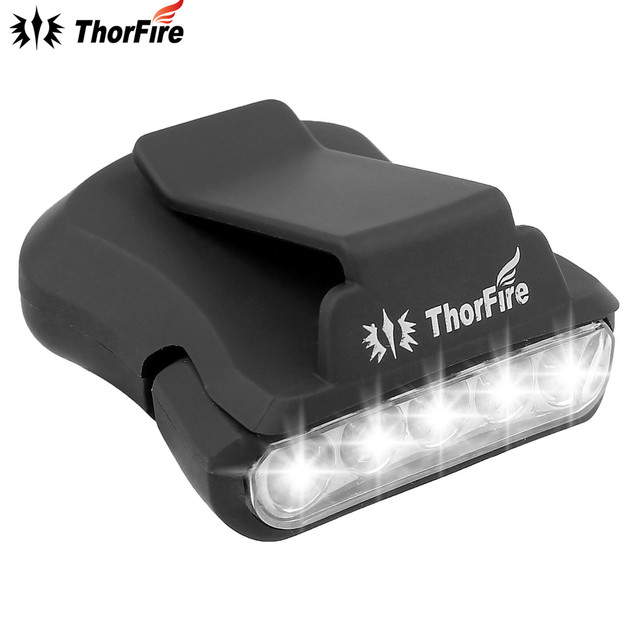 ThorFire 5 LED Headlamp Cap Light 90 Degree Rotatable Clip-on Hat Light Hands Free Bright Head Lamp Lanterna Camping Cycling