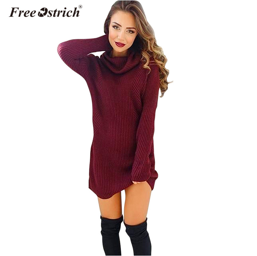 Free Ostrich Winter knitted Sweater Women Turtleneck Long Sleeve Long Jumper Loose Pullovers pull femme hiver D35