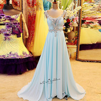 Baby Blue Luxury Rhinestones Evening Dress 2018 Formal Special Occasion Gown Chiffon Long Crystal Prom Dresses Sexy Abendkleider