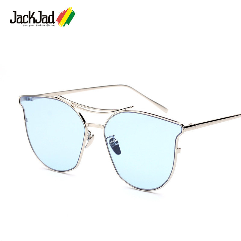 1161cdf2bb04f Jackjad 2017 new moda mulheres tingir oceano tipo de lente 2 óculos de sol  marca de design de metal cat eye óculos de sol oculos de sol feminino