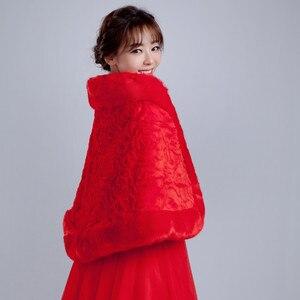Image 5 - 2020 White Winter Bridal Jackets Women Fur Bolero Wraps Wedding Bride Accessories