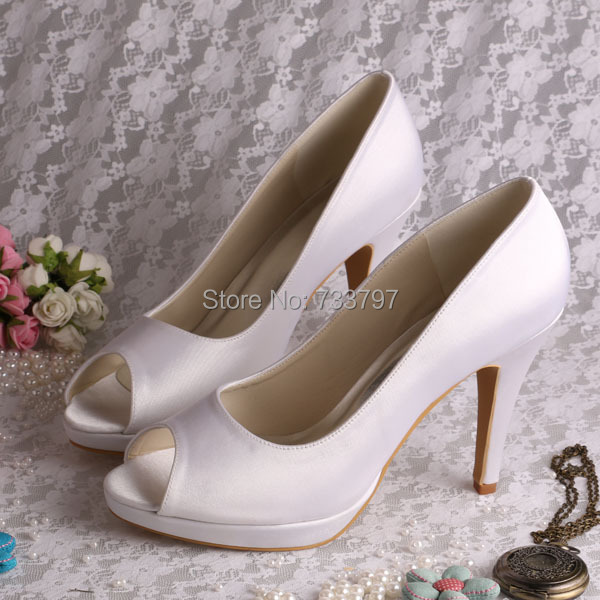(20 Colors)Custom Handmade White Platform Thin Heel Peep Toe Wedding Heels Plus Size