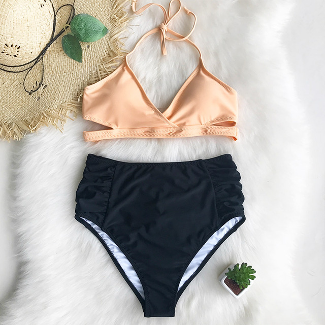 1eeaf3e9d5 Cupshe Mental Healing High-waisted Bikini Set Women Summer Sexy Swimsuit  Ladies Beach Bathing Suit swimwear