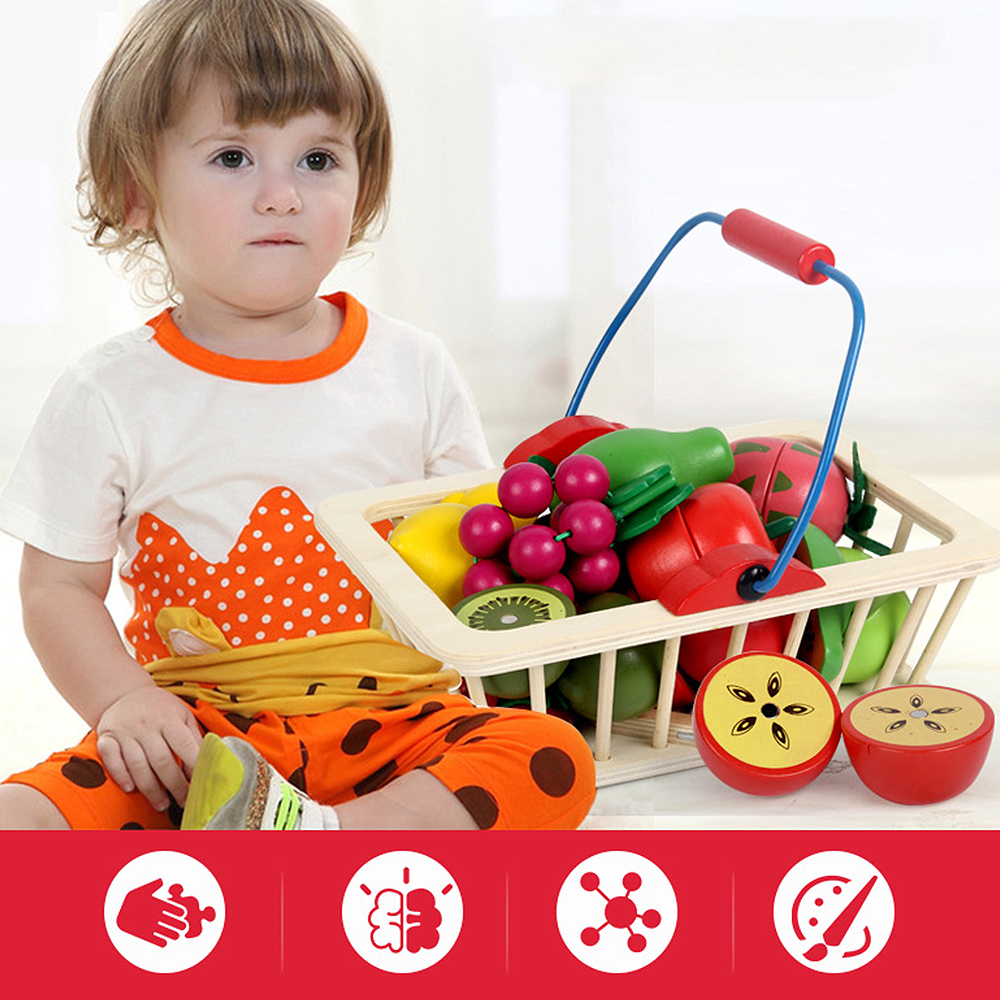 Kitchen Food Toy 12pcs/14pcs Cutting Fruit/Vegetable Wooden Play Food Children Toy Play House Kitchen With Basket Kids Toys