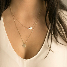 Simple summer versatile lady and peace dove necklace