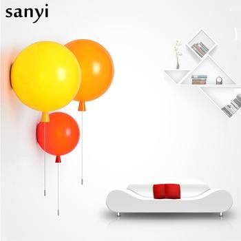 Lámparas de fondo con globos coloridas y modernas, interruptor de extracción para dormitorio, cabecera, pasillo, pared para habitación de niño, aplique E27, bombillas, luz de pared