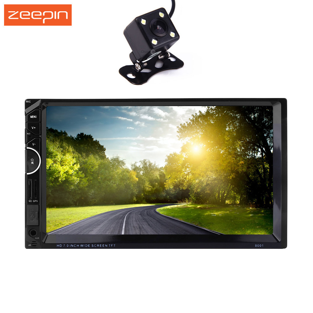 Zeepin 8001 2 Din 7'' Universal Car Radio Video Stereo MP5 Player GPS Navigation Rear-view Camera FM Bluetooth Remote Control
