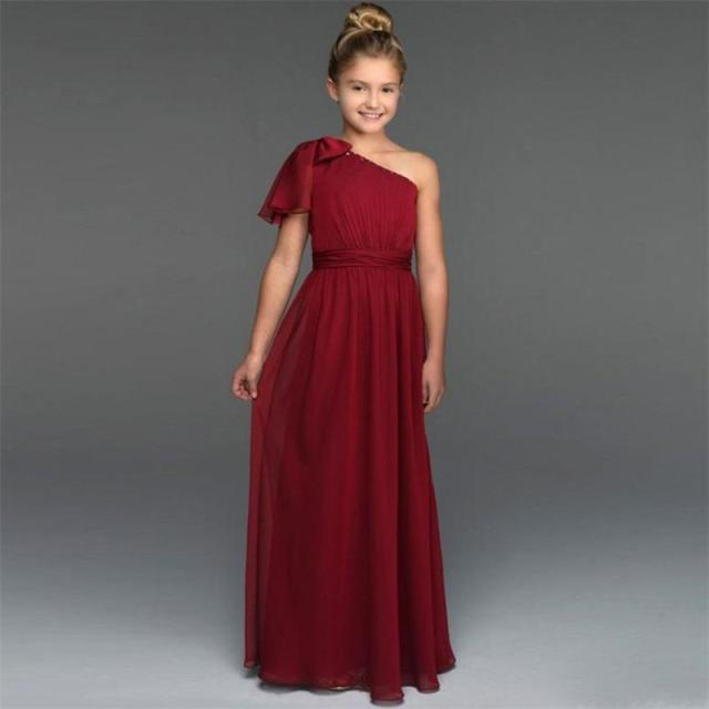 b681aa17330 One Shoulder Bowknot Pleated Dark Red 2017 Flower Girl Dresses Princess  Junior Bridesmaid Gowns Party Dress Long Chiffon HT176