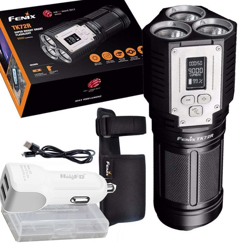 2018 Fenix TK72R 9000 Lumen 3x CREE XHP70 LED Digital OLED Display Rechargeable Searchlight Flashlight fenix hp25r 1000 lumen headlamp rechargeable led flashlight