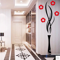 2015 Modern Vase Plum Flower Arcylic 3dwall Stickers Single piece For Living Room Hallway Art Home Decoration Free Shipping