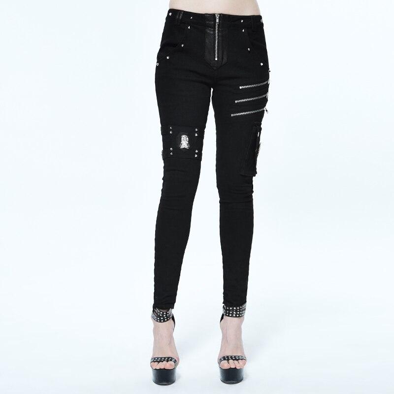 Ropa punk rock para mujer negro ajustado algodón largo lápiz pantalones elásticos para mujer