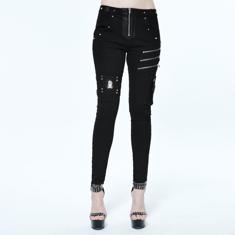 punk rock clothing for women Black Skinny Fit Tight Cotton Long pencil pants Stretch Pants For Women