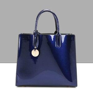 Image 4 - Tasarımcı Marka Ünlü Büyük Patent Deri Tote Çanta Çanta omuzdan askili çanta Satchel Çanta Saffiano Tote Çanta Jöle Yüksek Kaliteli