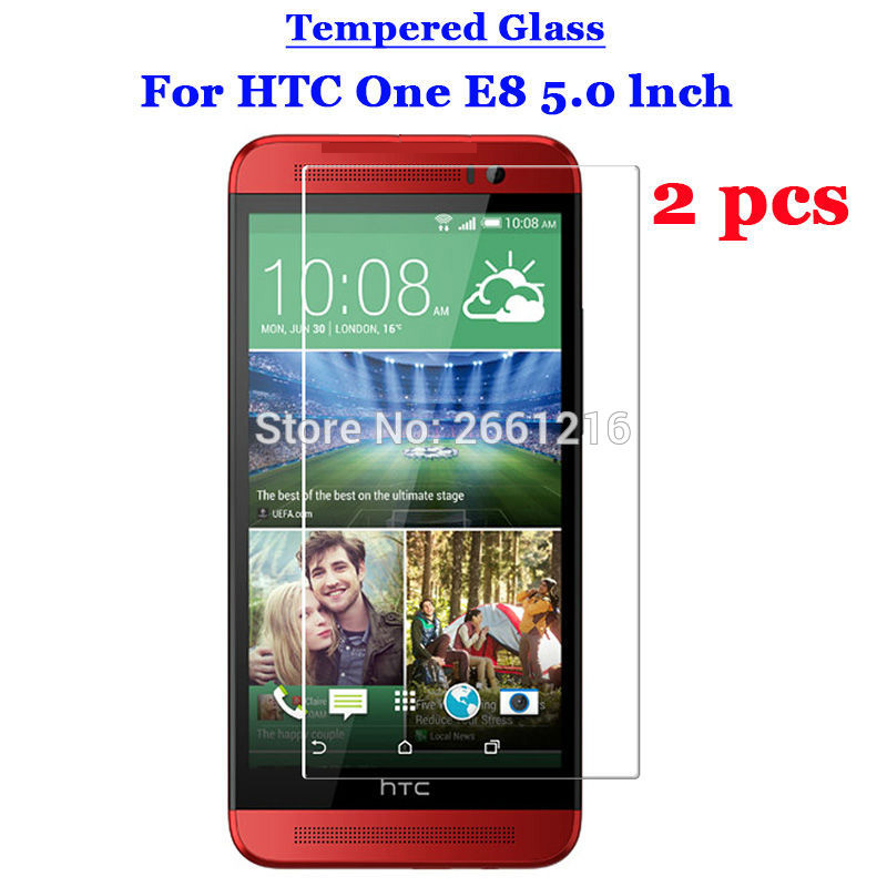 2 Pcs/Lot For HTC One E8 Tempered Glass 9H 2.5D Premium Screen Protector Film For HTC One E8 / Ace / Dual Sim 5.0