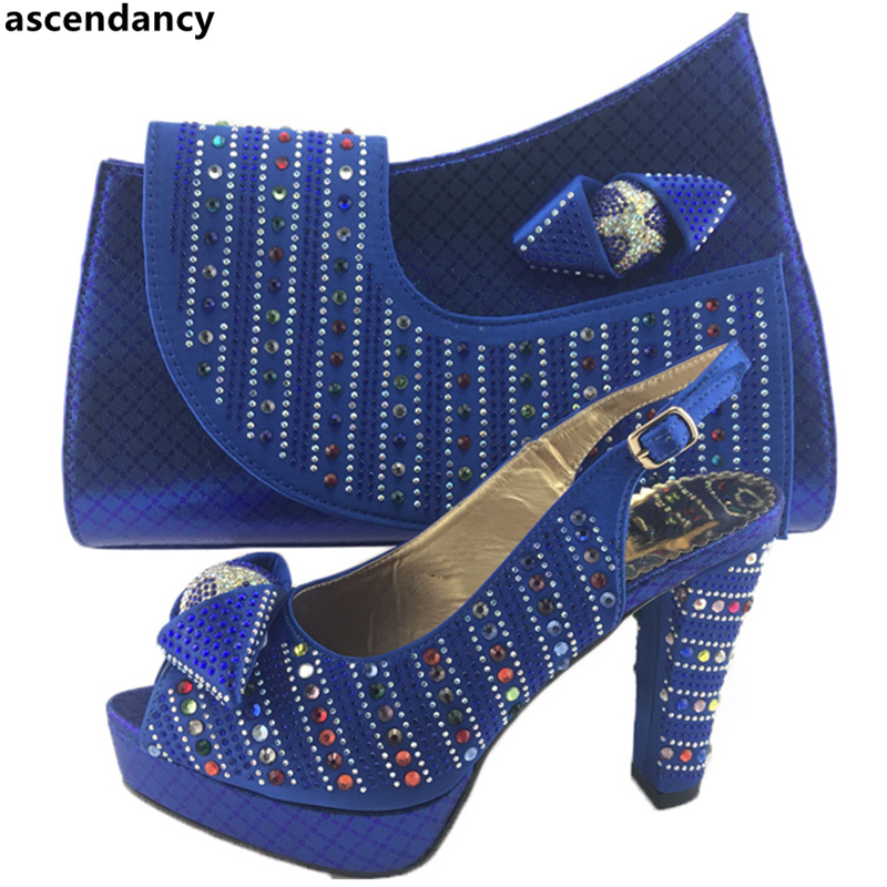 Correspondant vert Ensemble Set Sacs Pour Chaussure Nigérian Bleu Et or Couleur Le Rouge Italien rouge Chaussures Mariage Femmes Femme Sac De HxfFqgd