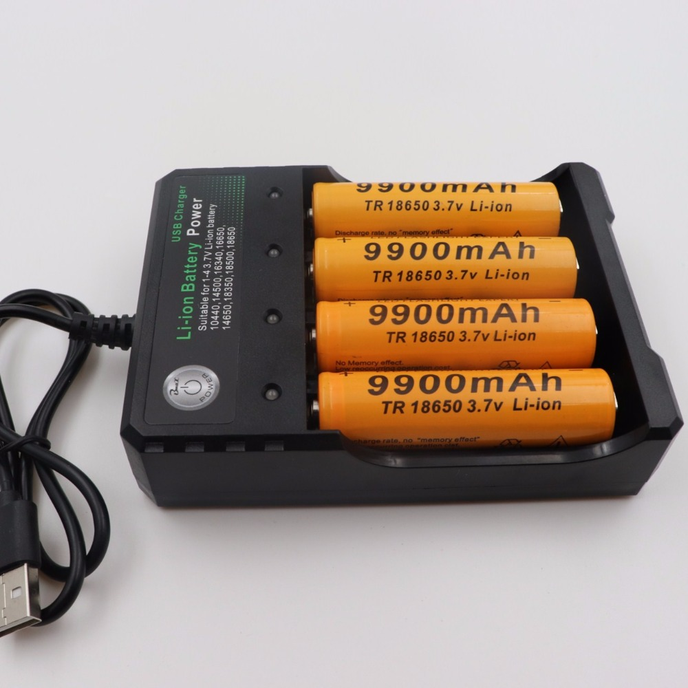 2018 New 4PCS Brand battery 18650 3.7V 9900 MAH Li ion rechargeable battery 18650 batery +USB battery charger intelligent