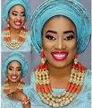 Роскошный комплект золотых украшений в Дубае  нигерийское свадебное коралловое ожерелье  серьги  набор для невест  подарок  бесплатная дост...