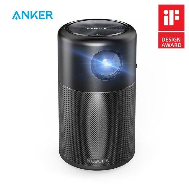 Anker Nebula, mini projektor kapsułkowy, inteligentny, przenośny rzutnik, do filmów, kieszonkowy, z głośnikiem DLP, 360 stopni, 100 cal, Android 7.1, aplikacja