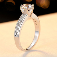 6.5mm 1CT CZ Stone Hearts and Arrows Cut Brilliant Ring Engagement Solid 925 Sterling Silver Ring Anniversary Gift for Wife Love