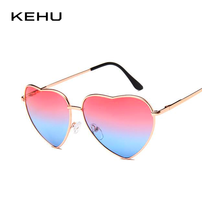KEHU Heart Shaped Sunglasses Women Metal Frame Reflective Lens Sun protection Sunglasses Men Mirror De Sol Fashion k9073