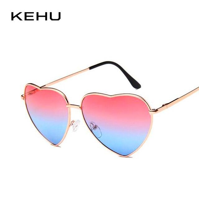 ef13ef577 KEHU نظارة شمس على شكل قلب النساء إطار معدني عدسة عاكسة الشمس النظارات  الشمسية حماية الرجال