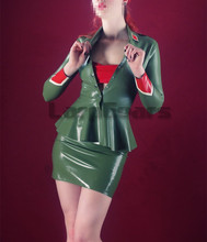 Latex Rubber Outfit Handmade Army Jacket Tops with Skirt Clothing Set Exotic