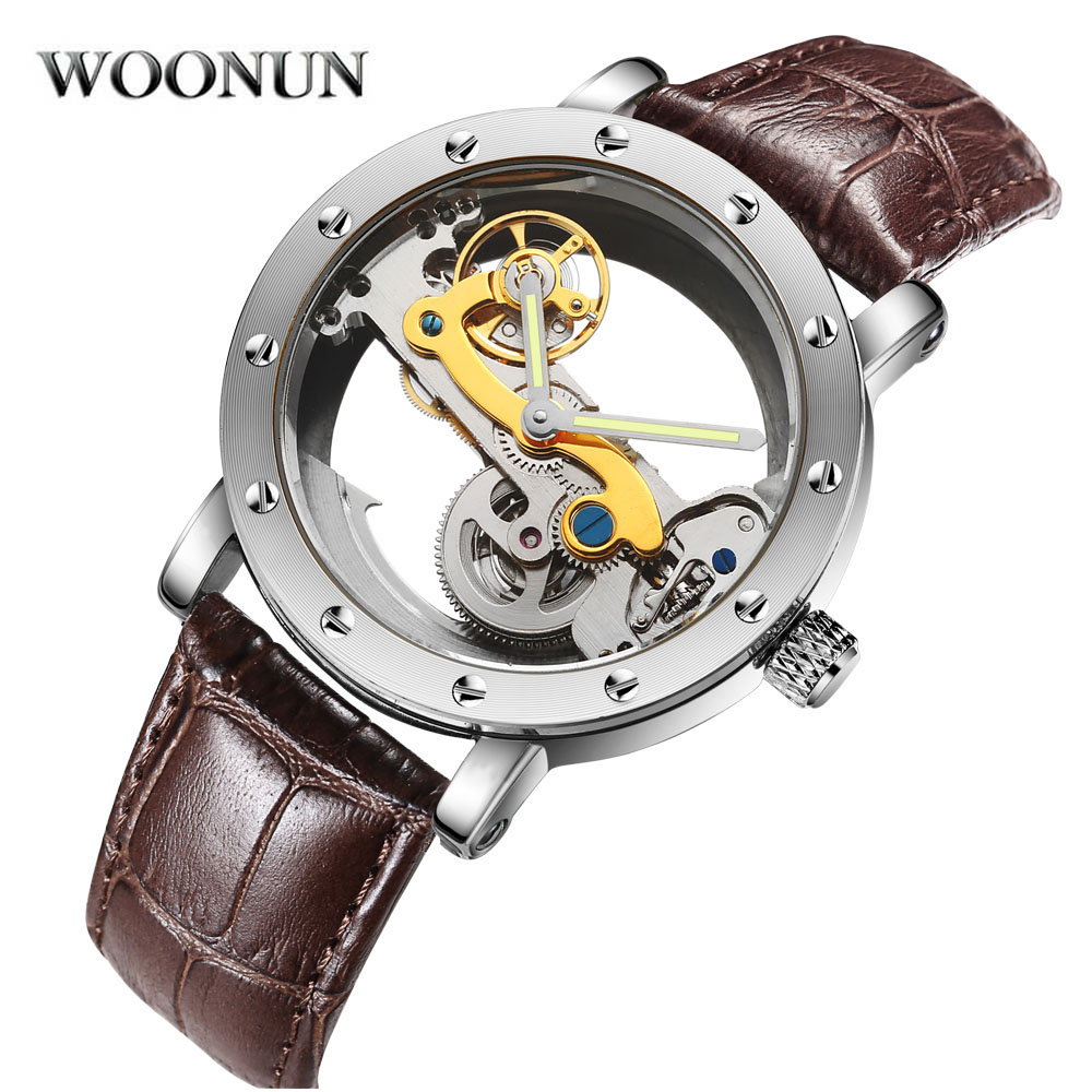 Luxury Brand WOONUN Leather Strap Transparent Dial Golden Case Mens Watches Automatic Mechanical Orologio Men все цены