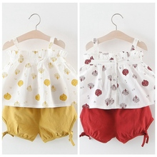 Summer Baby Girls Casual Floral Pattern Strap Sleeveless Tops Vest+Shorts Suits Costume Set