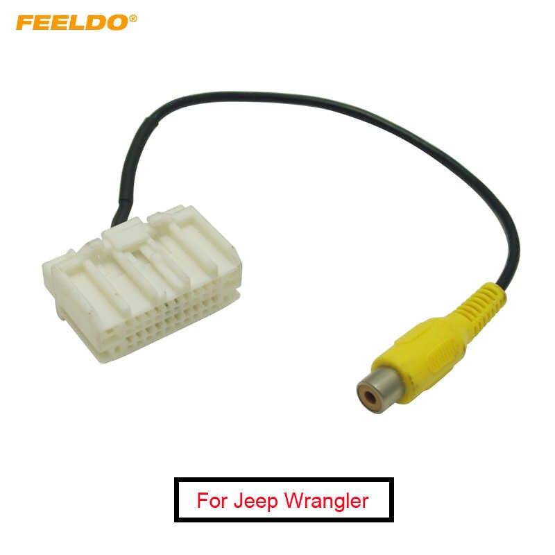 FEELDO 1 PC רכב חניה אחורי מצלמה מפעל תצוגת RCA תקע היפוך וידאו כבל עבור ג 'יפ רנגלר 2007-2017
