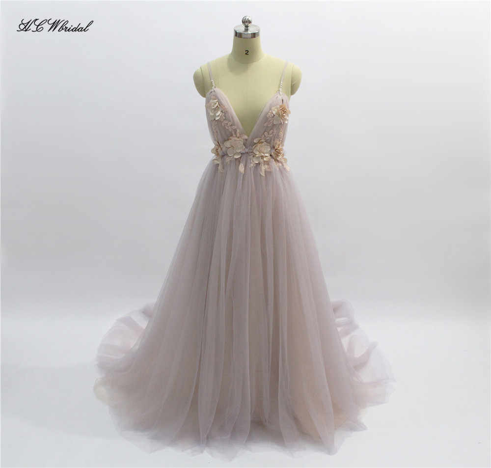 85b5a1bc1d Sexy Tulle Long Evening Dress 2019 New Arrival Backless Court Train Flowers  Blush A Line Special Occasion Prom Gowns Custom Made