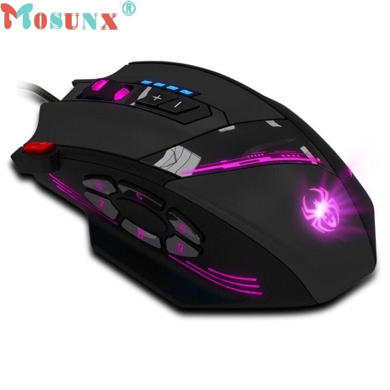 Mosunx zelotes c-12 программируемых кнопок led оптическая usb профессиональный игровая мышь мыши регулируемая 4000 точек/дюйм wholdsale 9 декабря