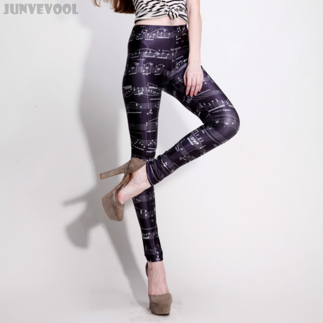 Pencil Pants Ankle-length Capris 3D Leggings Plus Size Seamless Trousers Galaxy Music Basic Note Printed Black Soft Fitness Wear