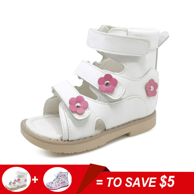 a8961397c7 Flower Simple Lovely Children Girl White Genuine Leather Flat Foot Shoes  Toddler Shoes Kids Orthopedic Sandals For Girls