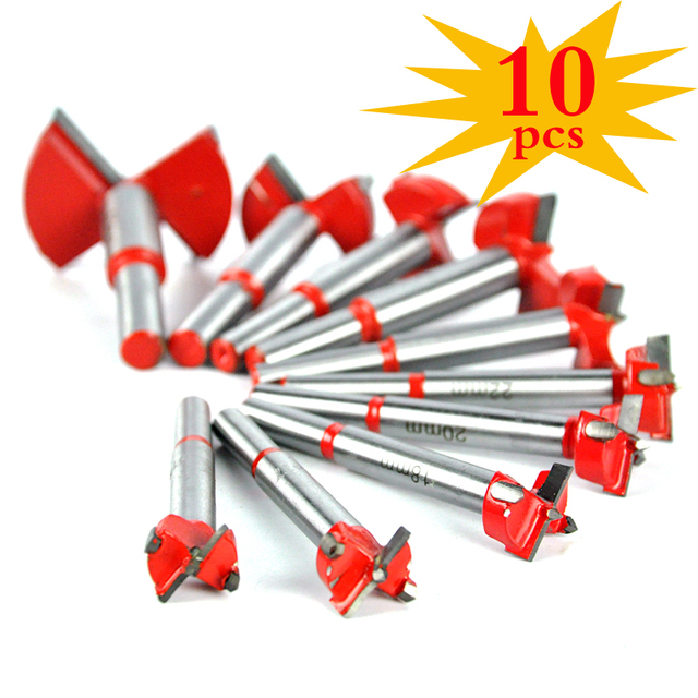 10PCS 16-50mm New Red Auger Drill Bit Set Wood Drilling Woodworking Hinge Hole Saw Window Wooden Cutting Tool Full Steel Drills